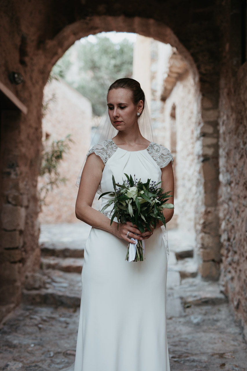 Monemvasia Elegant Wedding jenny packham bride