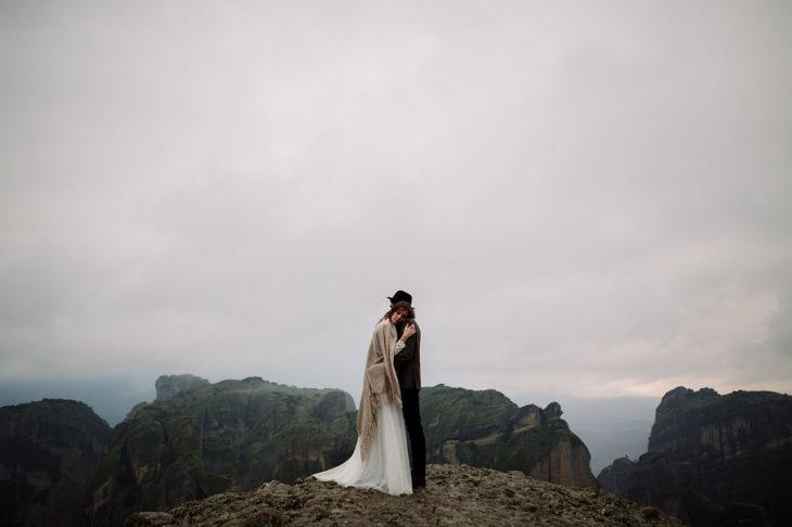 Winter Cliffside Elopement Greece Wedding Photographer