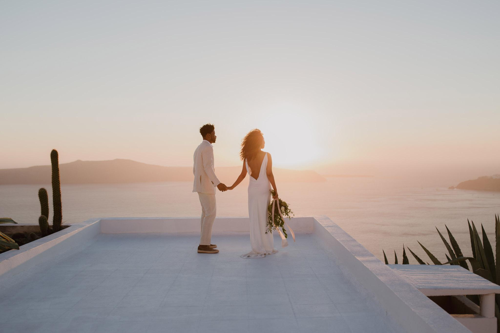 Santorini Wedding Photographer Elopement A La Robe Spina Bride NYC Betty Flowers Santorini Imerovigli
