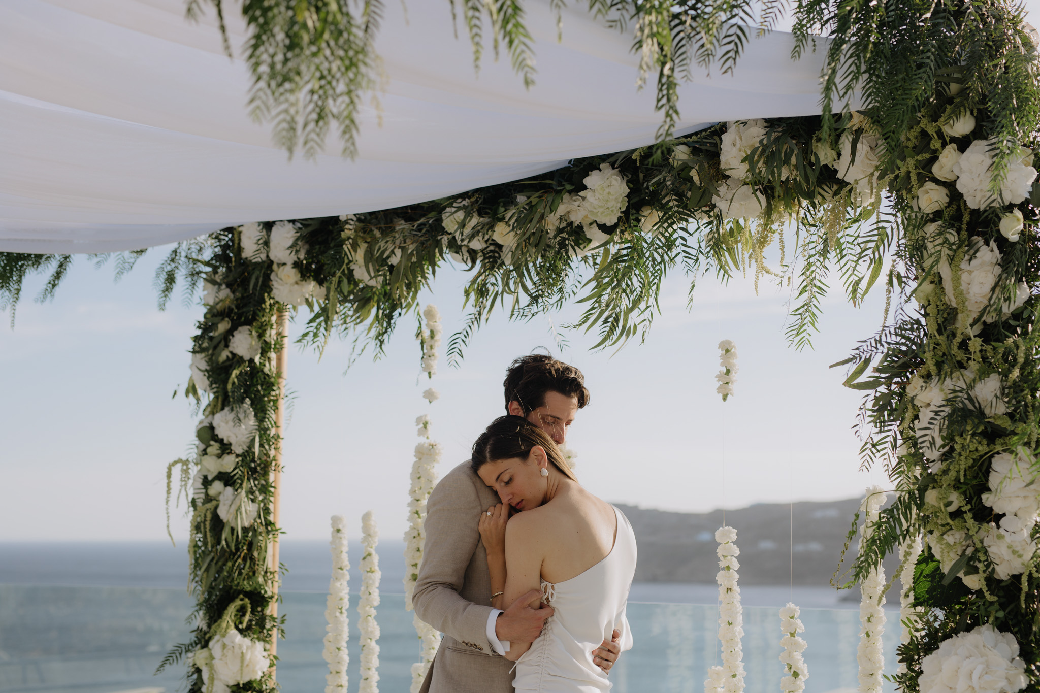 Mykonos Wedding Photographer Royal Myconian Resort Chuppah Jewish Wedding The Twelve Events