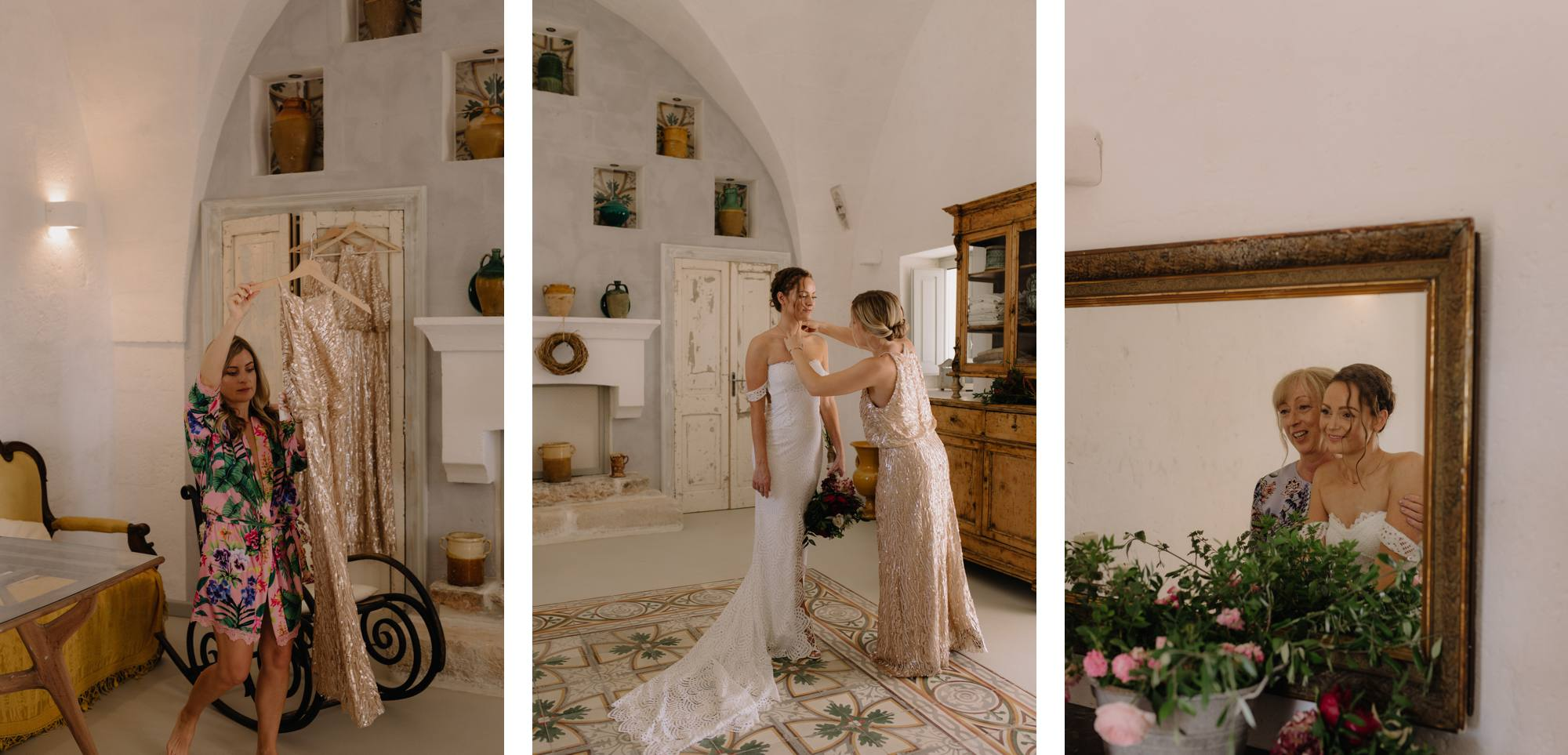 Puglia Wedding Photographer Masseria Potenti Grace Loves Lace Bride BHLDN Bridesmaid dress