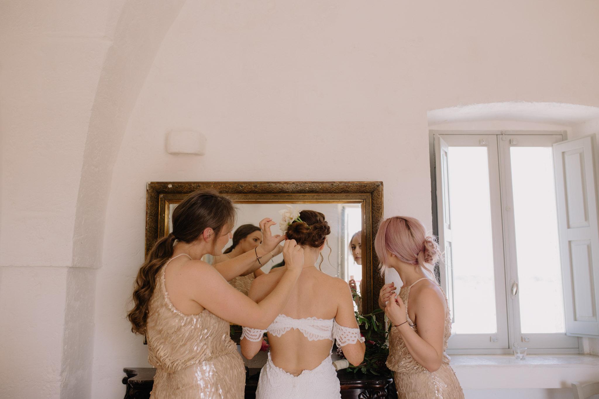Puglia Wedding Photographer Masseria Potenti Apulian wedding Grace Loves Lace Bride BHLDN Bridesmaids dress