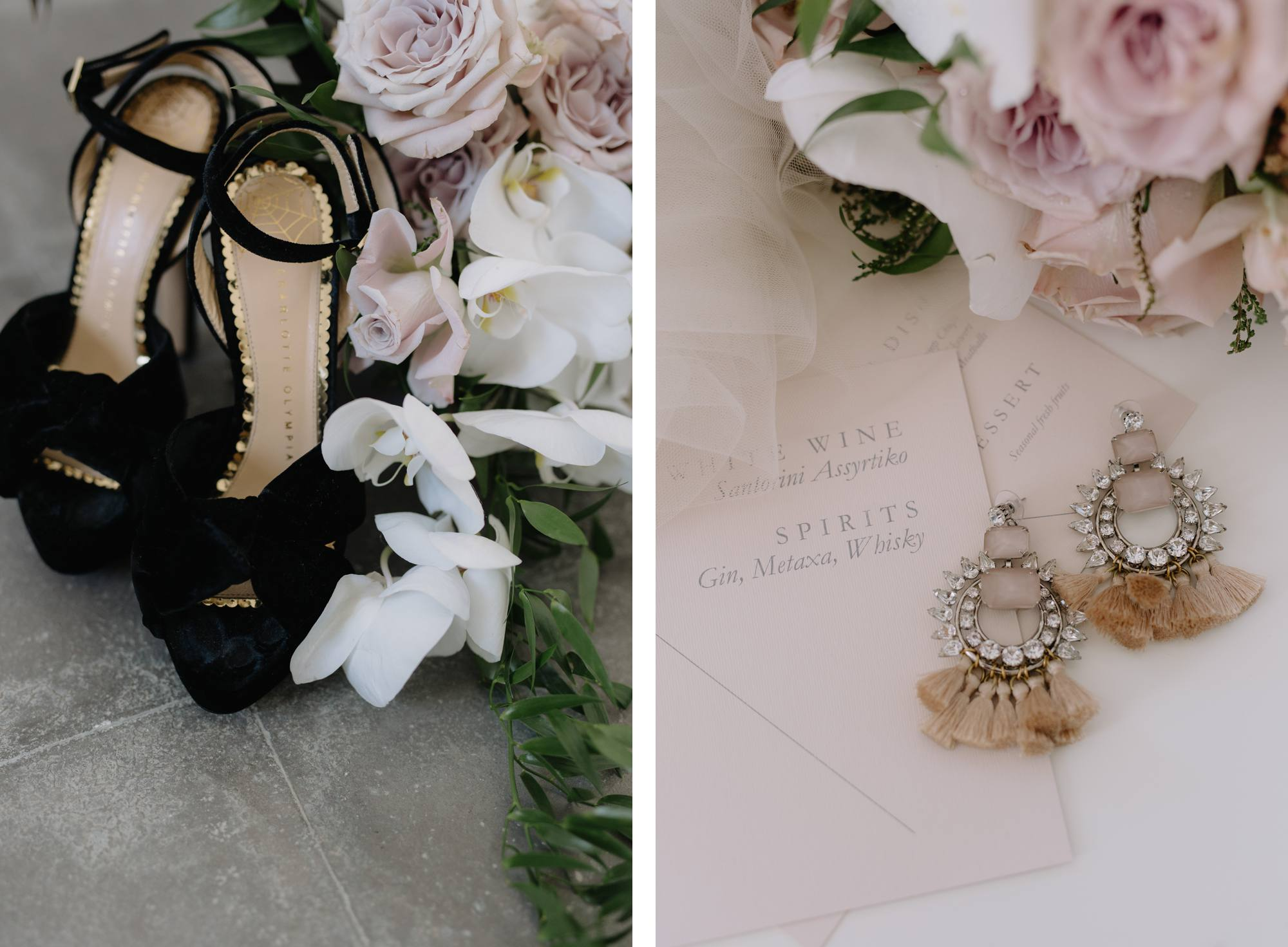 Santorini wedding photographer charlotte olympia bridal shoes bride accessories style flowers