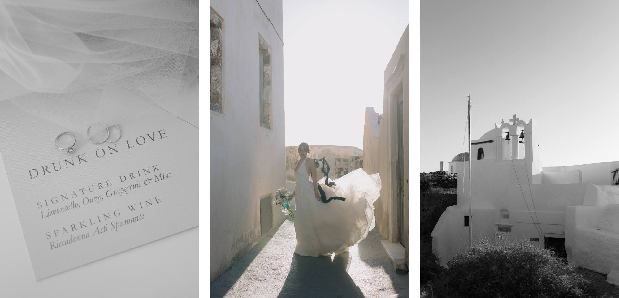 Santorini wedding photographer pyrgos anne barge dress wedding stationery bride