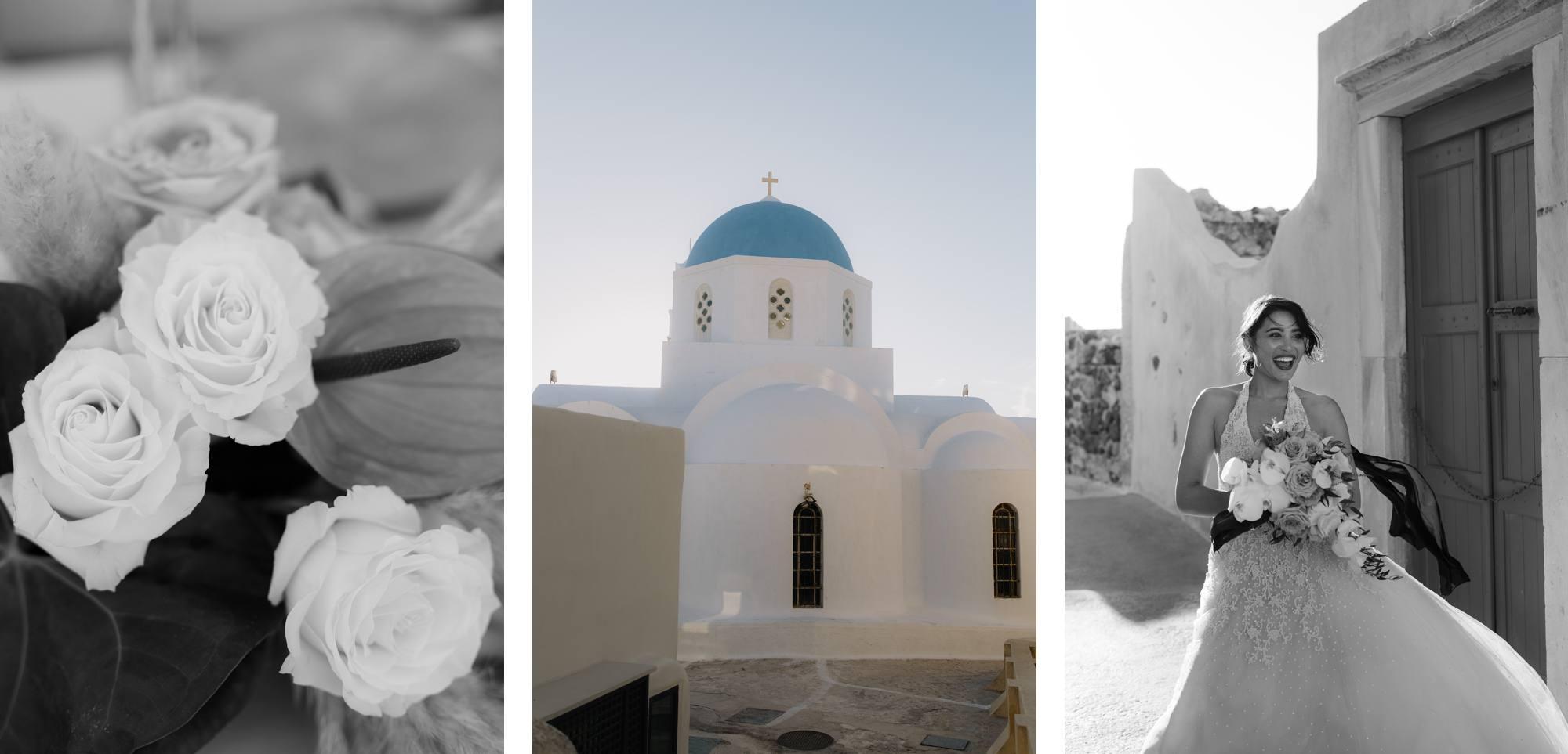 Santorini wedding photographer anne barge bride