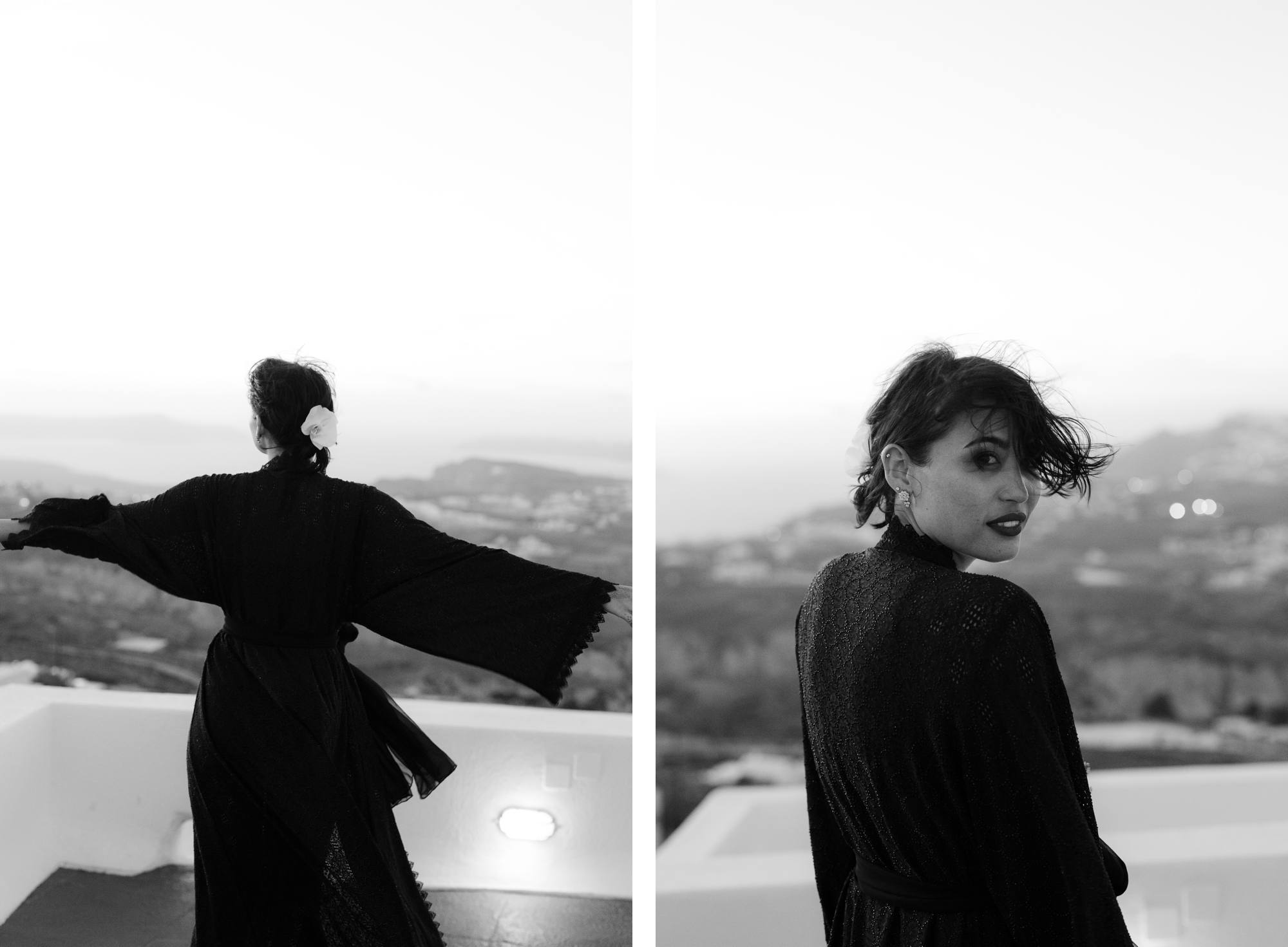 Santorini wedding photographer modern bride black dress